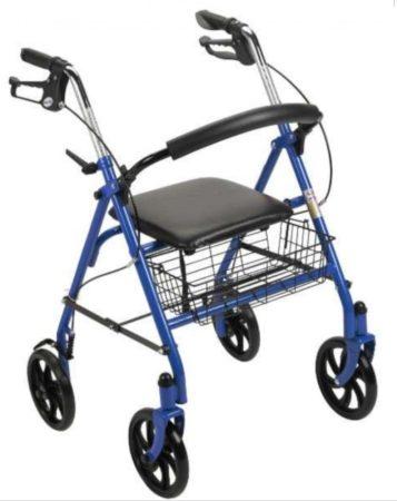 Könnyű összecsukható aluminium rollátor négy kerékkel kosárral ülőkével
