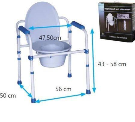 3 funkciós, állítható magasságú, összecsukható szoba WC